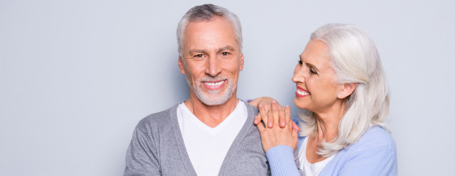 Couple with dental implants